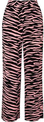 Ganni Lindale Zebra-print Crepe Pants