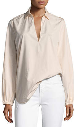 Vince Swing-Front Pullover Long-Sleeve Top