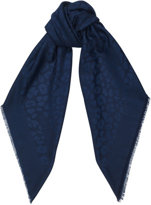 Jimmy Choo KAIA Navy Wool, Cashmere and Silk Blend Leopard Jacquard Shawl