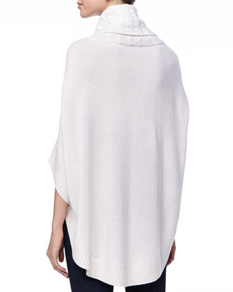 Neiman Marcus Buckled Turtleneck Cashmere Poncho
