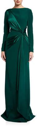 Rickie Freeman For Teri Jon Long-Sleeve Crepe Column Gown with Draped Satin Trim