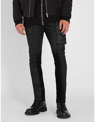 Rick Owens Memphis asymmetric coated skinny jeans