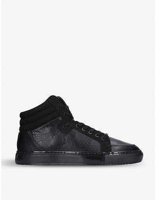 London Stanley faux-leather hi-top trainers