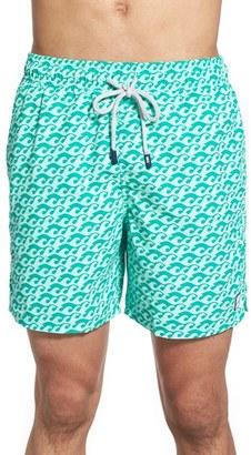 Men's Tom & Teddy Wave Print Swim Trunks $94.95 thestylecure.com