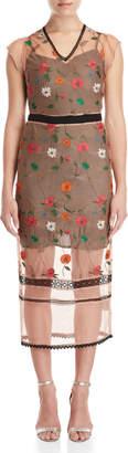 Gaudi' Gaudi Floral Embroidered Mesh Midi Dress