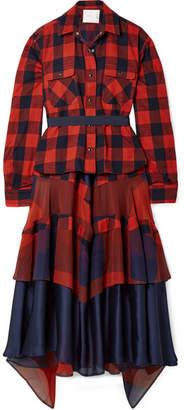 Sacai Layered Chiffon And Satin-paneled Cotton-twill Midi Dress