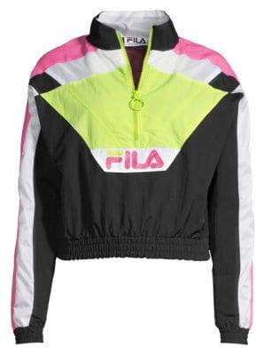 Fila Women's Conchita Half-Zip Wind Jacket - Black/Sharp Green/Fuschia Purple - Size XS