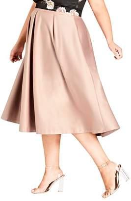 City Chic Pucker Up Pleated Satin Midi Skirt