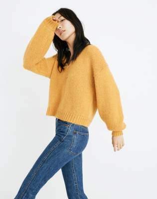 Balloon-Sleeve Pullover Sweater