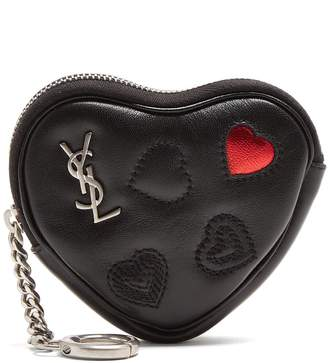 Saint Laurent Love heart-shaped leather coin purse