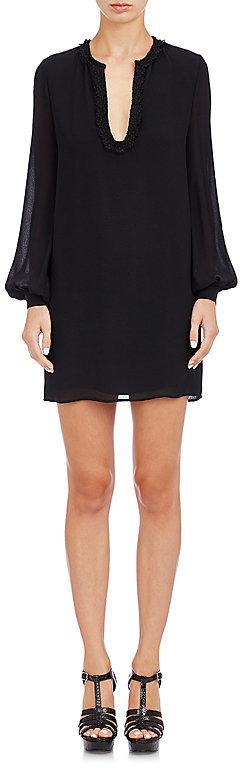 Saint LaurentSaint Laurent Women's Floral-Embroidered Shift Dress-Black