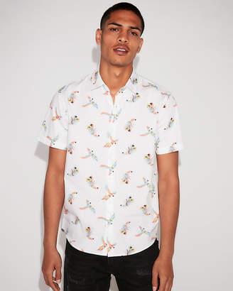 Express Classic Parrot Print Short Sleeve Shirt