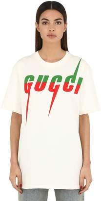 Gucci Oversize Logo Cotton Jersey T-Shirt