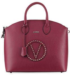 Mario Valentino Valentino By Bravia Rock Dollaro Leather Stud Satchel Bag