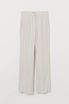 H&M Jacquard-striped Pants - Beige