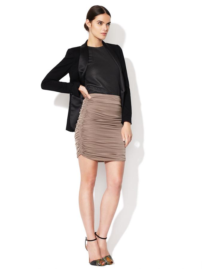 Halston Ruched Chiffon Skirt
