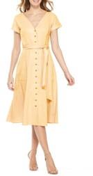 Gal Meets Glam Vanessa Button Front Linen Blend Midi Dress