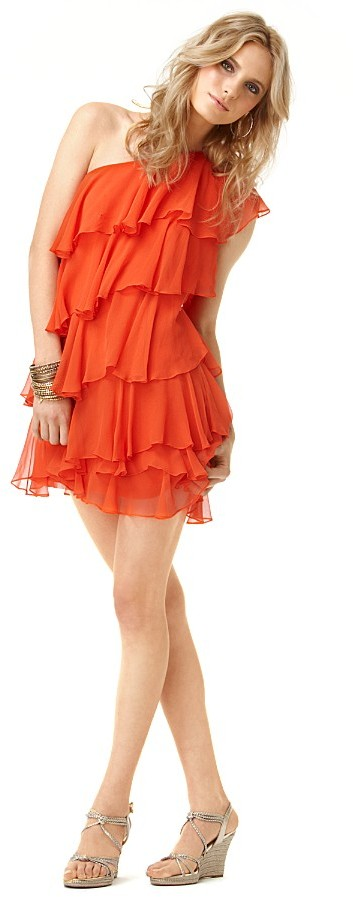 Halston Heritage Silk Tiered One-Shoulder Cocktail Dress