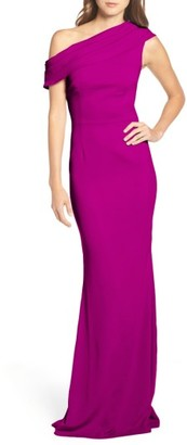 Women's Katie May Pleat One-Shoulder Crepe Gown $295 thestylecure.com