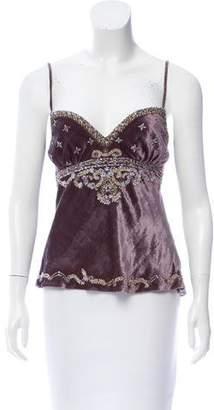 Ralph Lauren Embellished Velvet Top