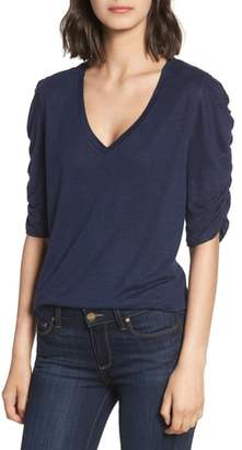 Chelsea28 Ruched Elbow Sleeve Linen Tee