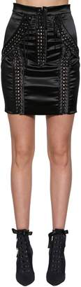 Dolce & Gabbana Lace-Up Stretch Satin Mini Skirt