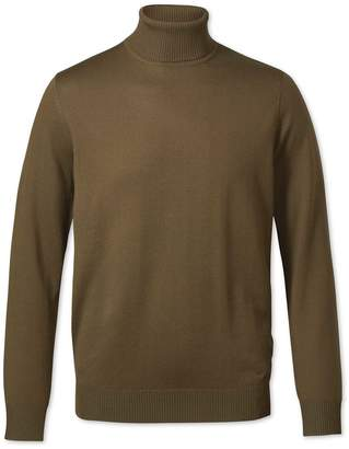 Charles Tyrwhitt Olive Roll Neck Merino Wool Sweater Size Large