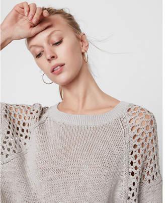 Express mesh shoulder crew neck sweater