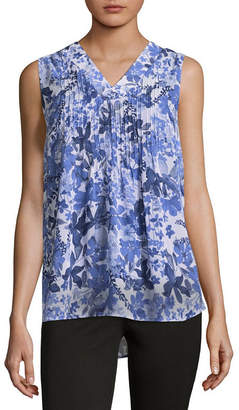 Liz Claiborne Sleeveless V-Neck Pintuck Blouse