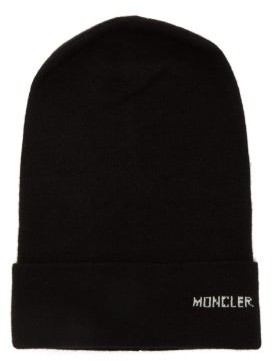 Moncler Logo Cashmere Beanie Hat - Womens - Black cda89fd7f325