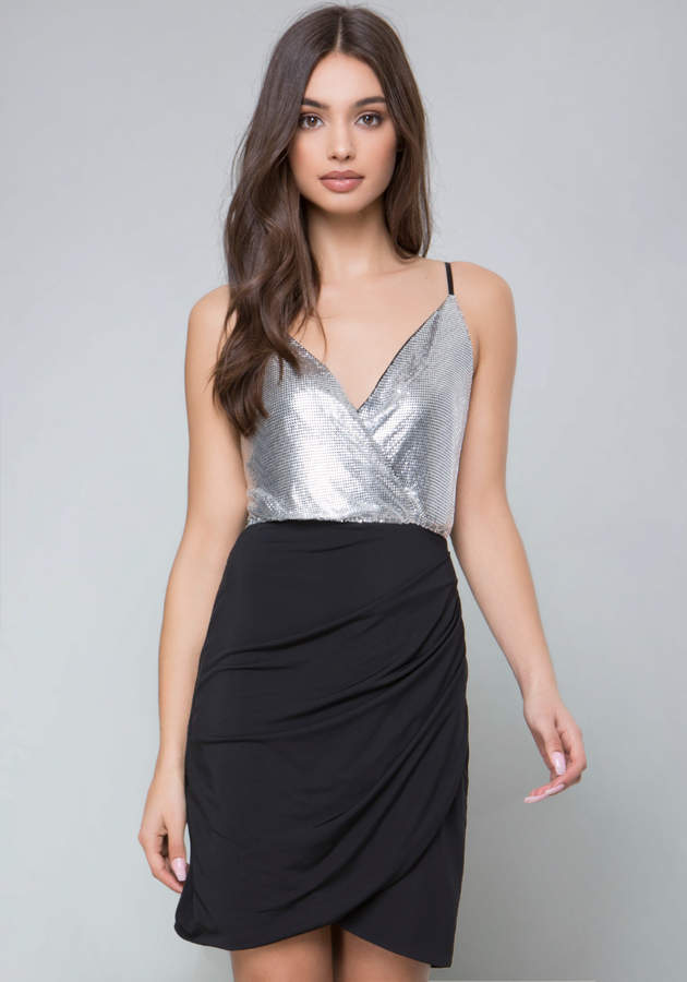 Metallic Overlay Dress