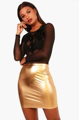 boohoo Faith Metallic Bodycon Mini Skirt