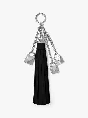 MICHAEL Michael Kors Mercer Leather Tassel and Lock Key Chain