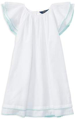 Polo Ralph Lauren Girls' Cotton Gauze Flutter-Sleeve Dress - Big Kid
