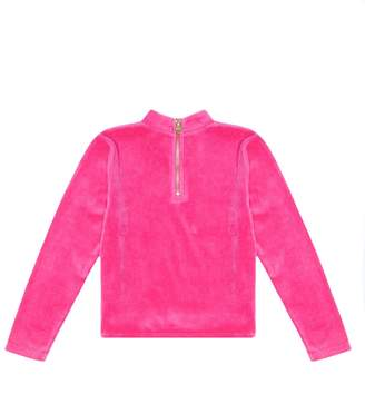 Juicy Couture Velour Stone Embellished Mock Neck Top for Girls