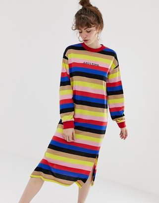 Daisy Street maxi t-shirt dress in bright stripe