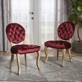 Noble House Adele Tufted Velvet Dining Chairs, Set of 2, Garnet, Natural