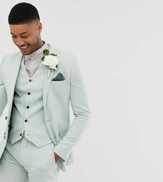 Asos Design ASOS DESIGN Tall wedding super skinny suit jacket in green cross