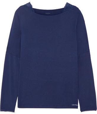 Calvin Klein Underwear - Seductive Comfort Lace-trimmed Stretch-modal Pajama Top - Storm blue $40 thestylecure.com