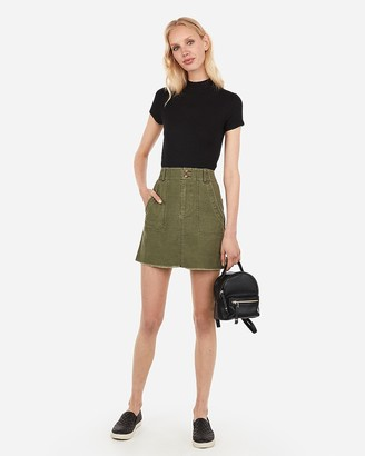 Express Super High Waisted Patch Pocket Twill Mini Skirt