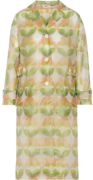 Miu Miu Miu Miu - Printed Vinyl Trench Coat - Green