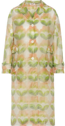 Printed Vinyl Trench Coat - Green