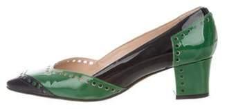 Oscar de la Renta Patent Leather Square-Toe Pumps Green Patent Leather Square-Toe Pumps