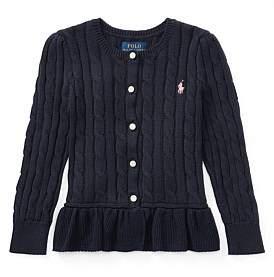 Polo Ralph Lauren Cable Cotton Peplum Cardigan(2-7 Years)