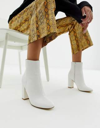 New Look snake effect heeled ankle boot in white