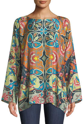 Johnny Was Lentine Silk Printed Georgette Tunic, Plus Size