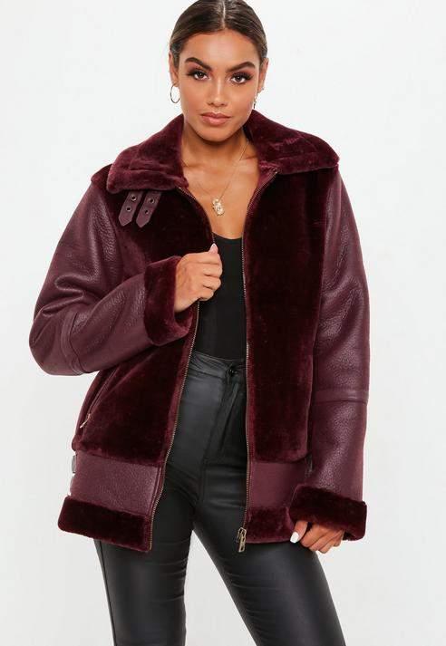 Tall Wine Faux Fur Ultimate Aviator Jacket, Wine
