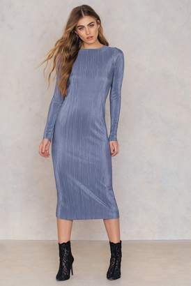 Na Kd Party Pleated Shimmery Dress Blue