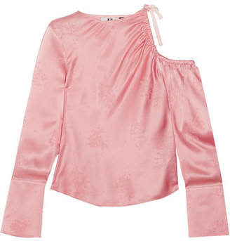 Topshop Lambeth Cutout Silk-jacquard Blouse - Baby pink