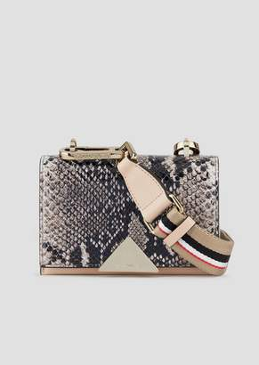 Emporio Armani Leather Mini-Bag With Python-Print Front And Striped Fabric Strap